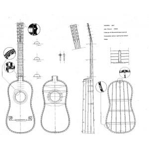 Disegno n° 13 Chitarra 1687 Jean Voboam - Parigi