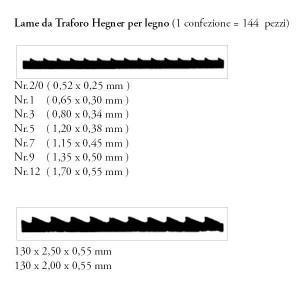 Hegner lame universali speciali per traforo 130x2.0x0.55mm.