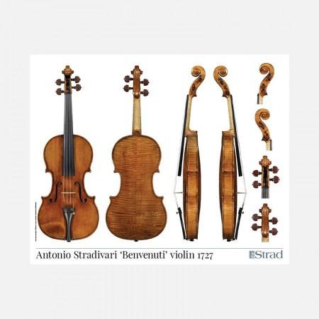 """Poster Stradivari Antonio violin, """"Benvenuti"""" 1727"""
