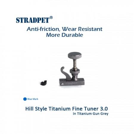 Titanium Fine Tuner 3.0 Hill Style, 3/4, 4/4 Violin or Viola, Gun Gray